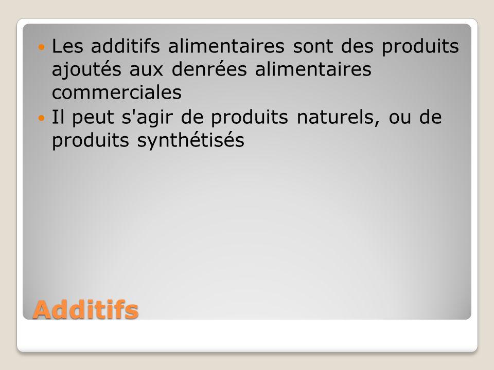Additifs Les additifs alimentaires sont des produits ajoutés aux denrées alimentaires commerciales Il peut s agir de produits naturels, ou de produits synthétisés