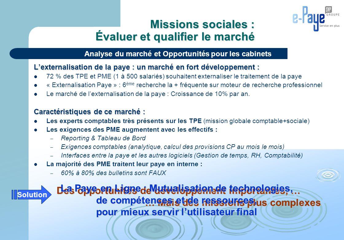 Missions sociales : Évaluer et qualifier le marché L'externalisation de la paye : un marché en fort développement : 72 % des TPE et PME (1 à 500 salar
