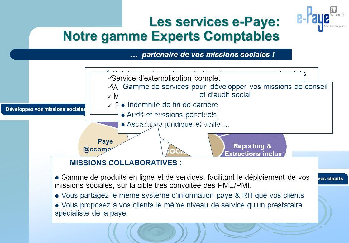 Les services e-Paye: Notre gamme Experts Comptables Paye @ccompagnée Solution en ligne de production des missions sociales, très simple d'utilisation
