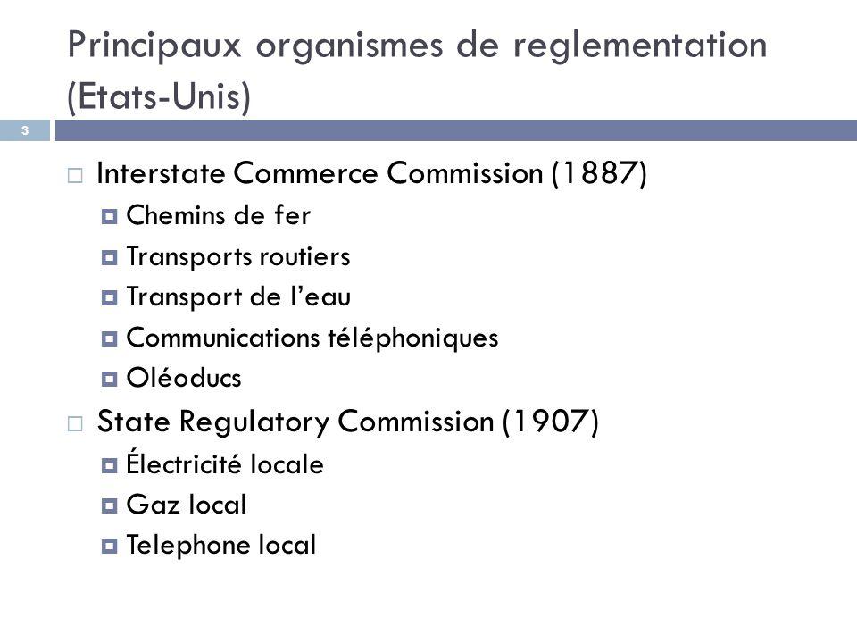 Principaux organismes de reglementation (Etats-Unis) 3  Interstate Commerce Commission (1887)  Chemins de fer  Transports routiers  Transport de l