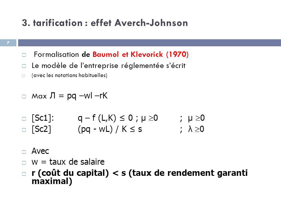 3. tarification : effet Averch-Johnson  Formalisation de Baumol et Klevorick (1970)  Le modèle de l'entreprise réglementée s'écrit  (avec les notat