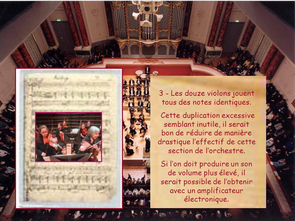 3 - Les douze violons jouent tous des notes identiques.