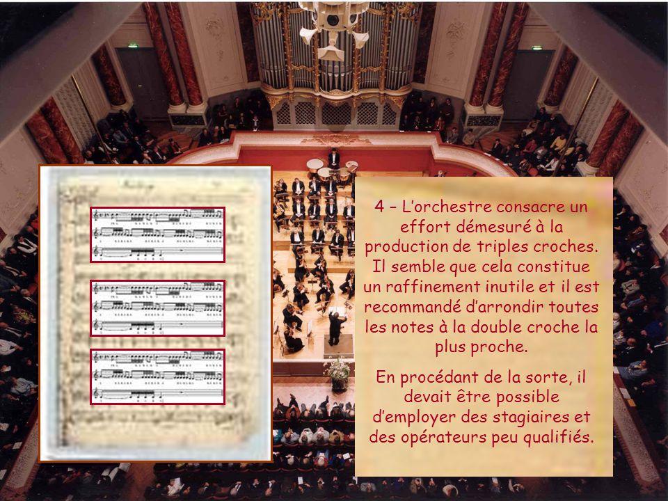4 – L'orchestre consacre un effort démesuré à la production de triples croches.