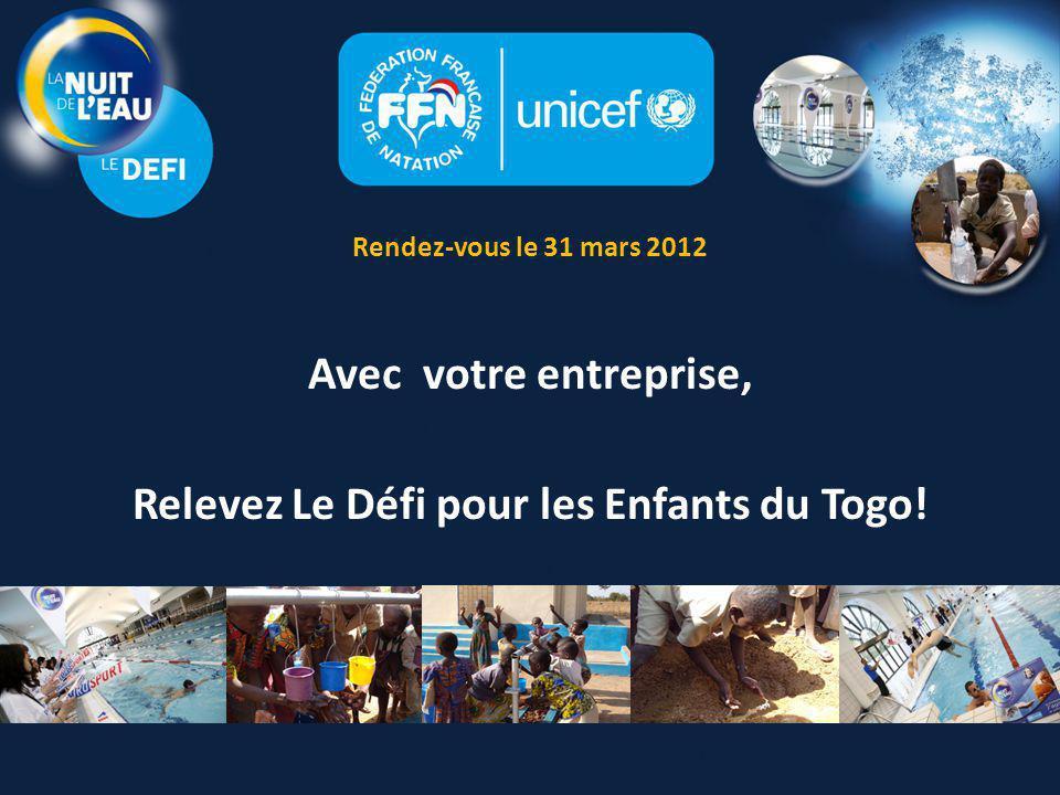 La Nuit de l'Eau : Le Défi UN ÉVÉNEMENT DE LA NUIT DE L'EAU DÉDIÉ AUX SALARIÉS D'ENTREPRISE Engagez-vous auprès de la Fédération Française de Natation et de l'UNICEF et venez participer au Défi de la Nuit de l'Eau Fédérez vos salariés autour d'un événement sportif et solidaire En 2011, lors de sa 1 ère édition, ce Défi a permis de collecter plus de 24 000 euros grâce à l'implication de salariés motivés Aidez-nous à battre le record de collecte.