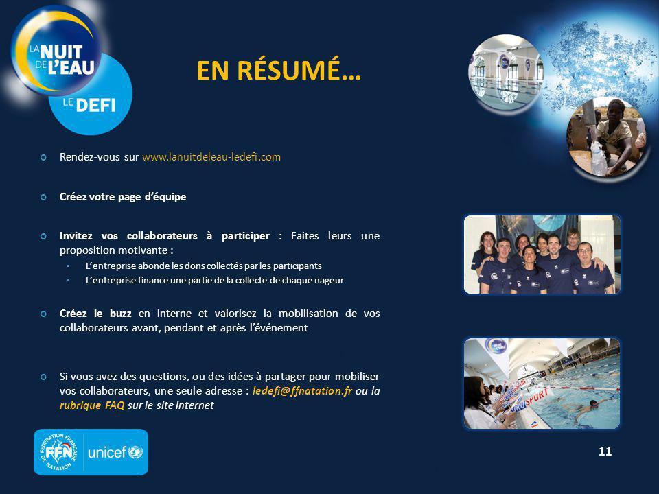 C OMMUNIQUÉ / M ESSAGE EMAIL Nagez pour les Enfants du Monde avec l'UNICEF Bonjour, Le 31 mars prochain, l'UNICEF organise la 2 ème édition du Défi de la Nuit de l'Eau à la piscine de Puteaux.