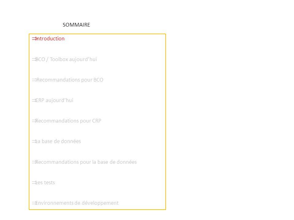 SOMMAIRE  Introduction  BCO / Toolbox aujourd'hui  Recommandations pour BCO  CRP aujourd'hui  Recommandations pour CRP  La base de données  Recommandations pour la base de données  Les tests  Environnements de développement