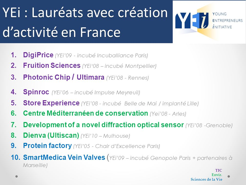 Lauréats avec création d'activité en France 1.DigiPrice (YEi'09 - incubé Incuballiance Paris) 2.Fruition Sciences (YEi'08 – incubé Montpellier) 3.Phot