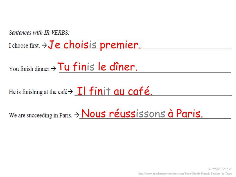 Je choisis premier. Tu finis le dîner. Il finit au café. Nous réussissons à Paris.