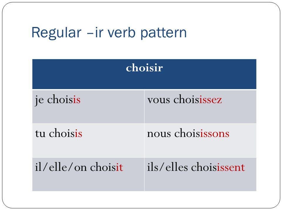 Regular –ir verb pattern choisir je choisisvous choisissez tu choisisnous choisissons il/elle/on choisitils/elles choisissent
