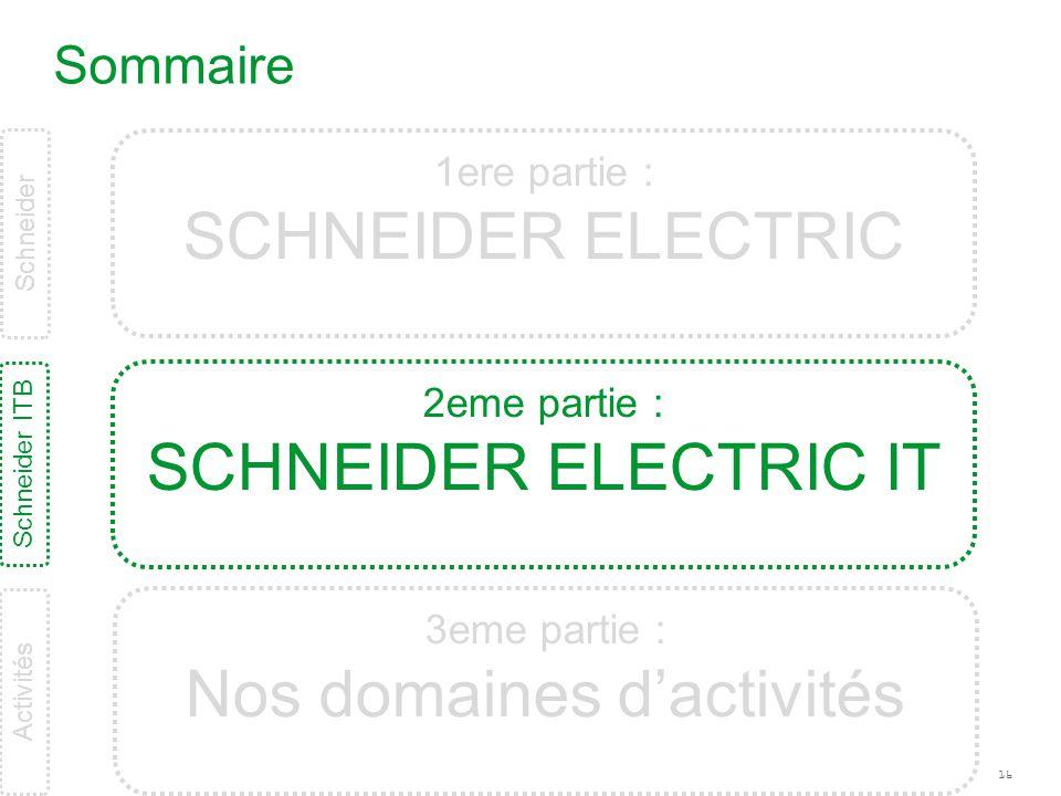 16 Sommaire Schneider ITB Schneider 1ere partie : SCHNEIDER ELECTRIC 2eme partie : SCHNEIDER ELECTRIC IT 3eme partie : Nos domaines d'activités Activi
