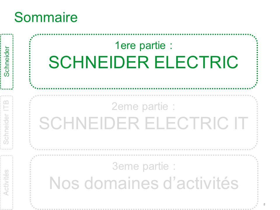 2 Sommaire Schneider ITB Schneider 1ere partie : SCHNEIDER ELECTRIC 2eme partie : SCHNEIDER ELECTRIC IT 3eme partie : Nos domaines d'activités Activit