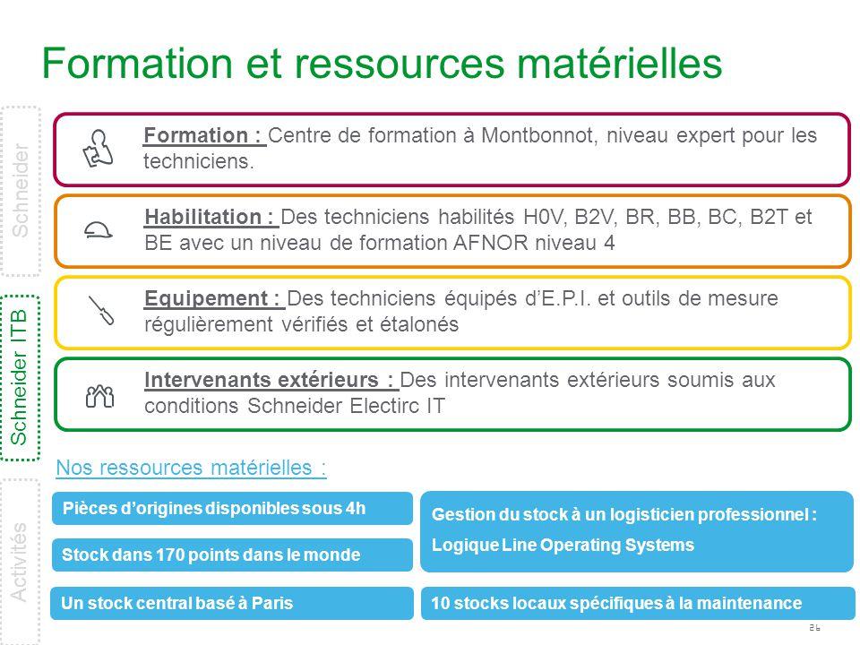 26 Formation et ressources matérielles Formation : Centre de formation à Montbonnot, niveau expert pour les techniciens. Habilitation : Des technicien