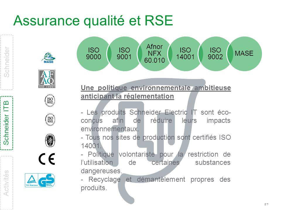 27 Assurance qualité et RSE ISO 9000 ISO 9001 Afnor NFX 60.010 ISO 14001 ISO 9002 MASE Une politique environnementale ambitieuse anticipant la régleme