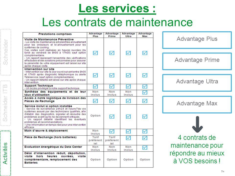 36 Les services : Les contrats de maintenance 4 contrats de maintenance pour répondre au mieux à VOS besoins ! Advantage Plus Advantage Prime Advantag