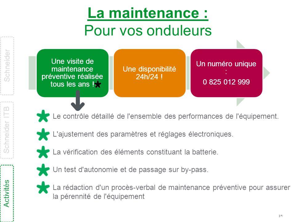 39 La maintenance : Pour vos onduleurs Une visite de maintenance préventive réalisée tous les ans ! Une disponibilité 24h/24 ! Un numéro unique : 0 82