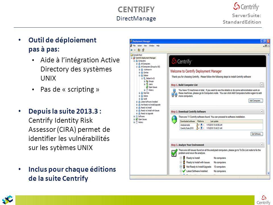 CENTRIFY DirectManage Outil de déploiement pas à pas: Aide à l'intégration Active Directory des systèmes UNIX Pas de « scripting » Depuis la suite 2013.3 : Centrify Identity Risk Assessor (CIRA) permet de identifier les vulnérabilités sur les sytèmes UNIX Inclus pour chaque éditions de la suite Centrify ServerSuite: StandardEdition