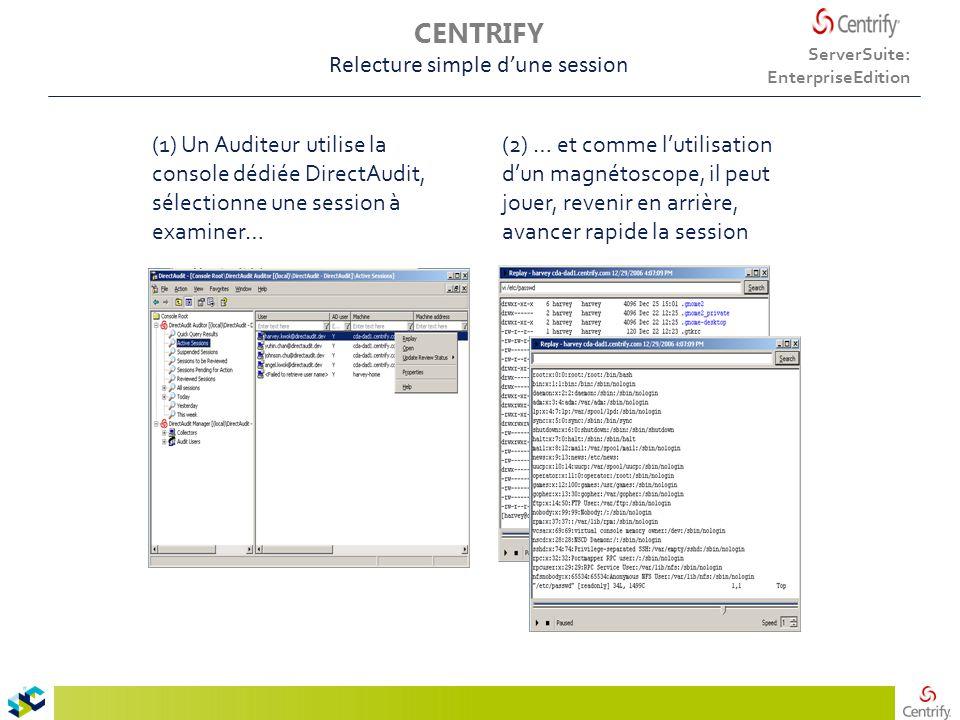 (1) Un Auditeur utilise la console dédiée DirectAudit, sélectionne une session à examiner… (2) … et comme l'utilisation d'un magnétoscope, il peut jouer, revenir en arrière, avancer rapide la session ServerSuite: EnterpriseEdition CENTRIFY Relecture simple d'une session