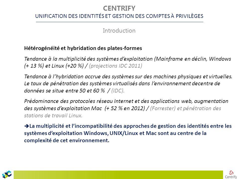 Hétérogénéité et hybridation des plates-formes Tendance à la multiplicité des systèmes d'exploitation (Mainframe en déclin, Windows (+ 13 %) et Linux