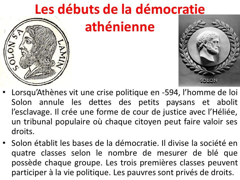 L'avancement de la démocratie athénienne L'aristocrate Clisthène fonde le régime de l'égalité devant la loi et enlève tout pouvoir politique aux familles aristocratiques pour le donner au peuple en -508.