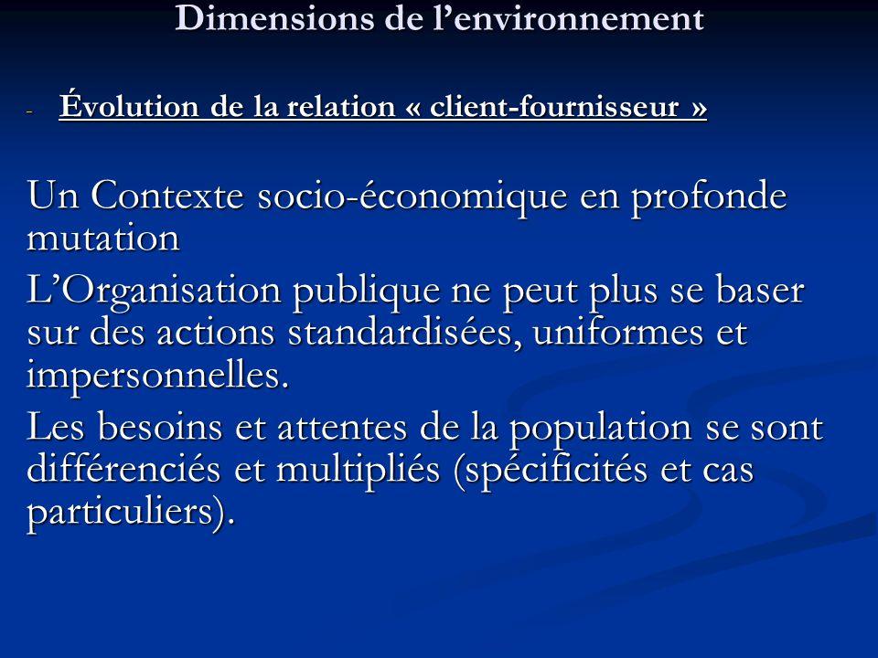 Dimensions de l'environnement - Évolution de la relation « client-fournisseur » Un Contexte socio-économique en profonde mutation L'Organisation publi