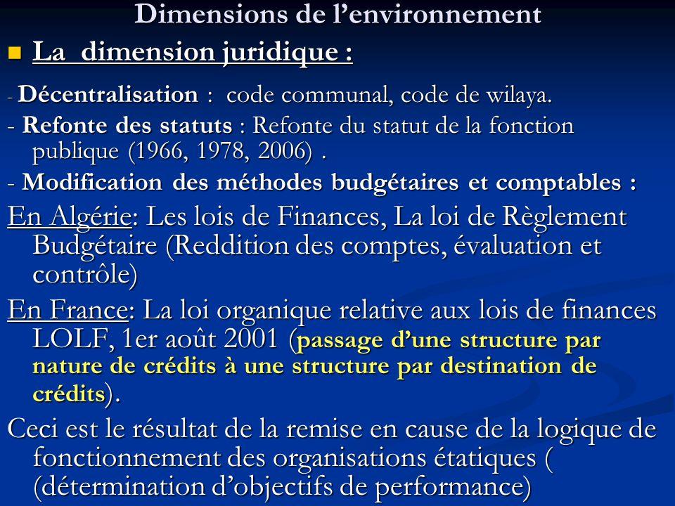 Dimensions de l'environnement La dimension juridique : La dimension juridique : - Décentralisation : code communal, code de wilaya. - Refonte des stat