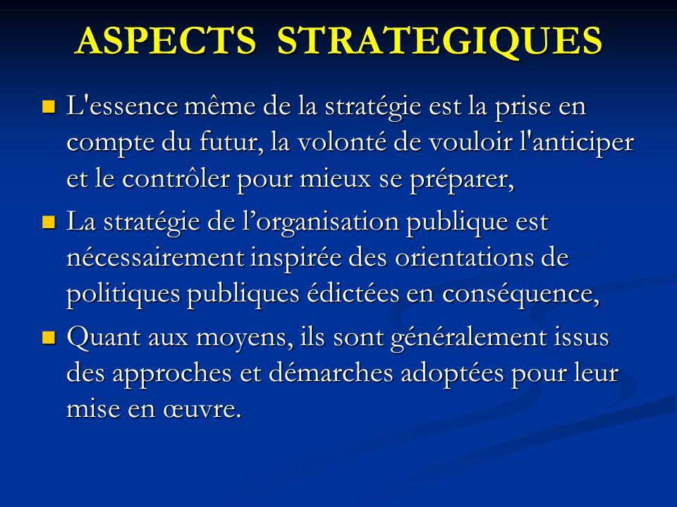 ASPECTS STRATEGIQUES L'essence même de la stratégie est la prise en compte du futur, la volonté de vouloir l'anticiper et le contrôler pour mieux se p
