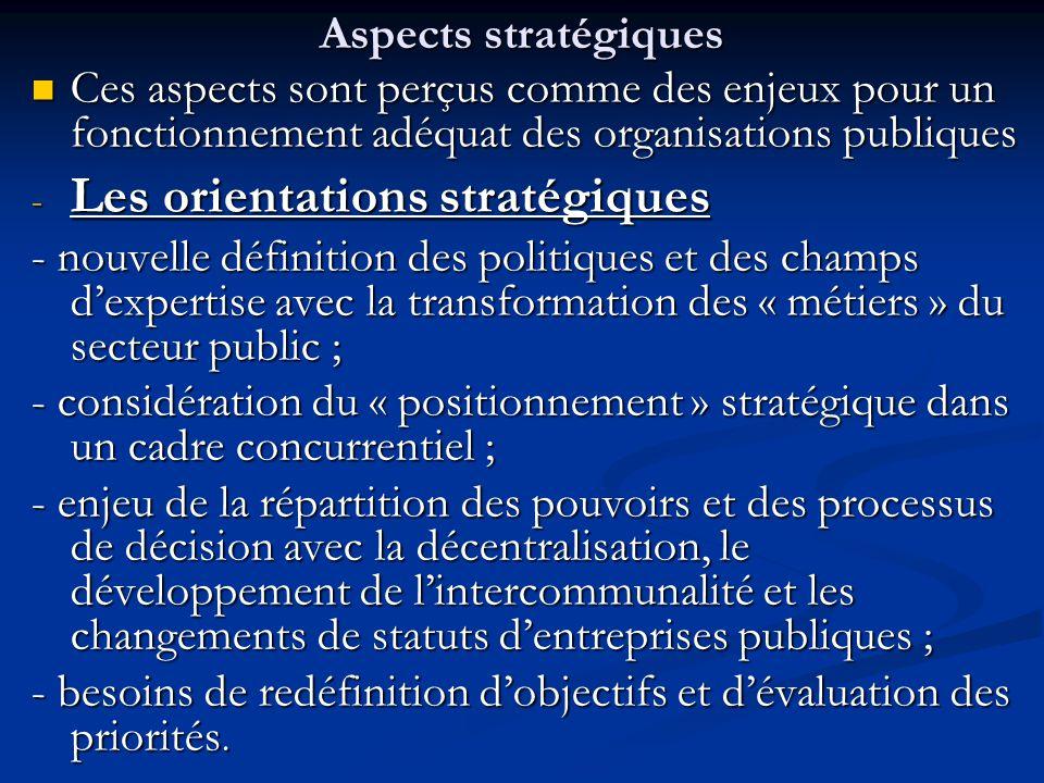 Aspects stratégiques Ces aspects sont perçus comme des enjeux pour un fonctionnement adéquat des organisations publiques Ces aspects sont perçus comme