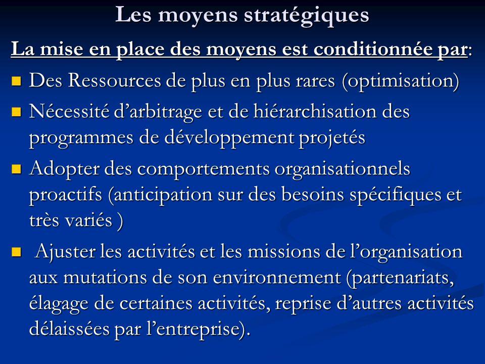 Les moyens stratégiques La mise en place des moyens est conditionnée par: Des Ressources de plus en plus rares (optimisation) Des Ressources de plus e