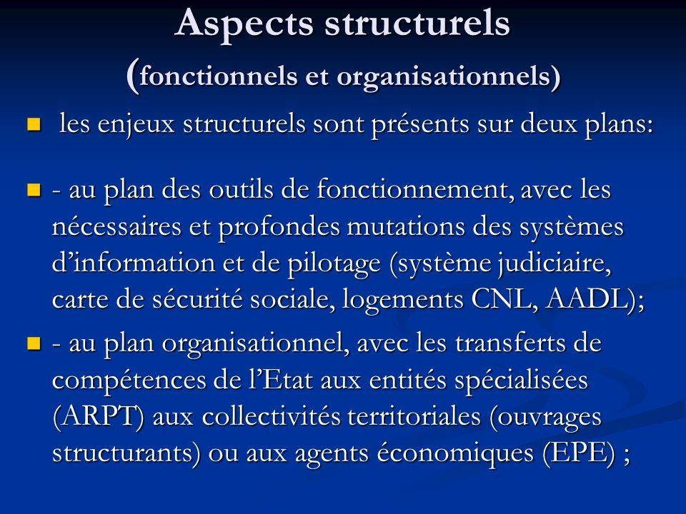 Aspects structurels ( fonctionnels et organisationnels) les enjeux structurels sont présents sur deux plans: les enjeux structurels sont présents sur