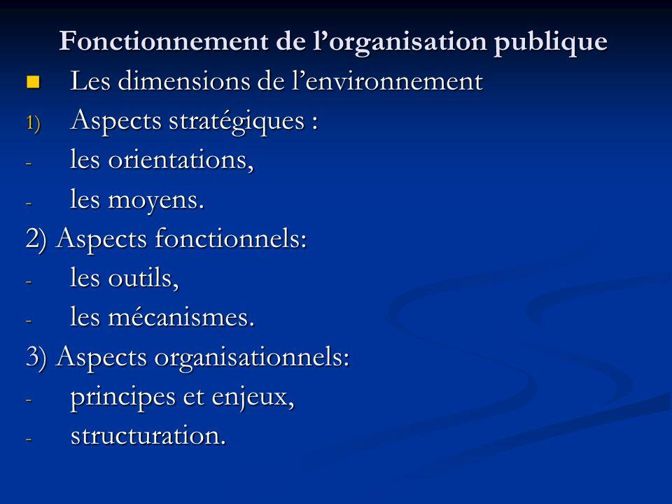 Fonctionnement de l'organisation publique Les dimensions de l'environnement Les dimensions de l'environnement 1) Aspects stratégiques : - les orientat
