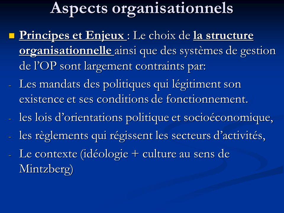 Aspects organisationnels Principes et Enjeux : Le choix de la structure organisationnelle ainsi que des systèmes de gestion de l'OP sont largement con