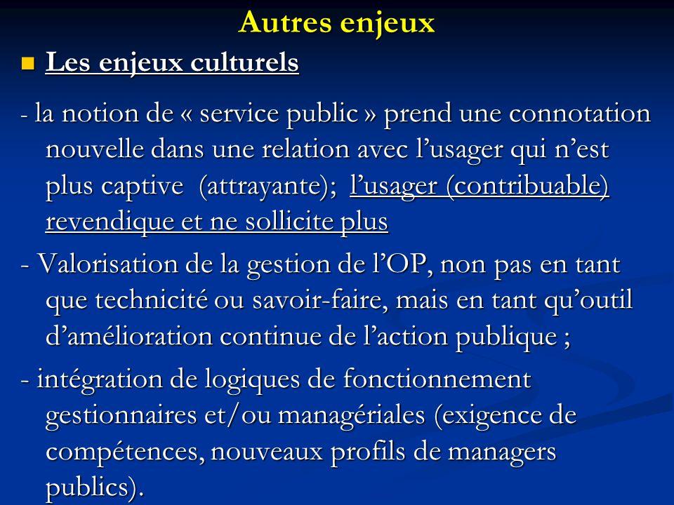 Autres enjeux Les enjeux culturels Les enjeux culturels - la notion de « service public » prend une connotation nouvelle dans une relation avec l'usag