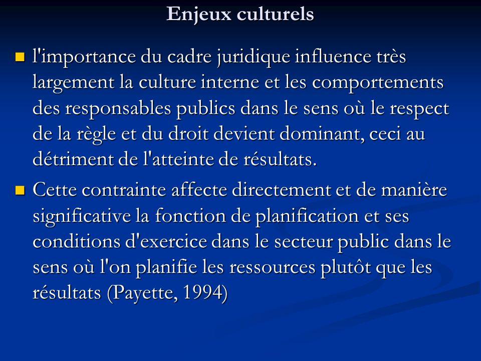 Enjeux culturels l'importance du cadre juridique influence très largement la culture interne et les comportements des responsables publics dans le sen