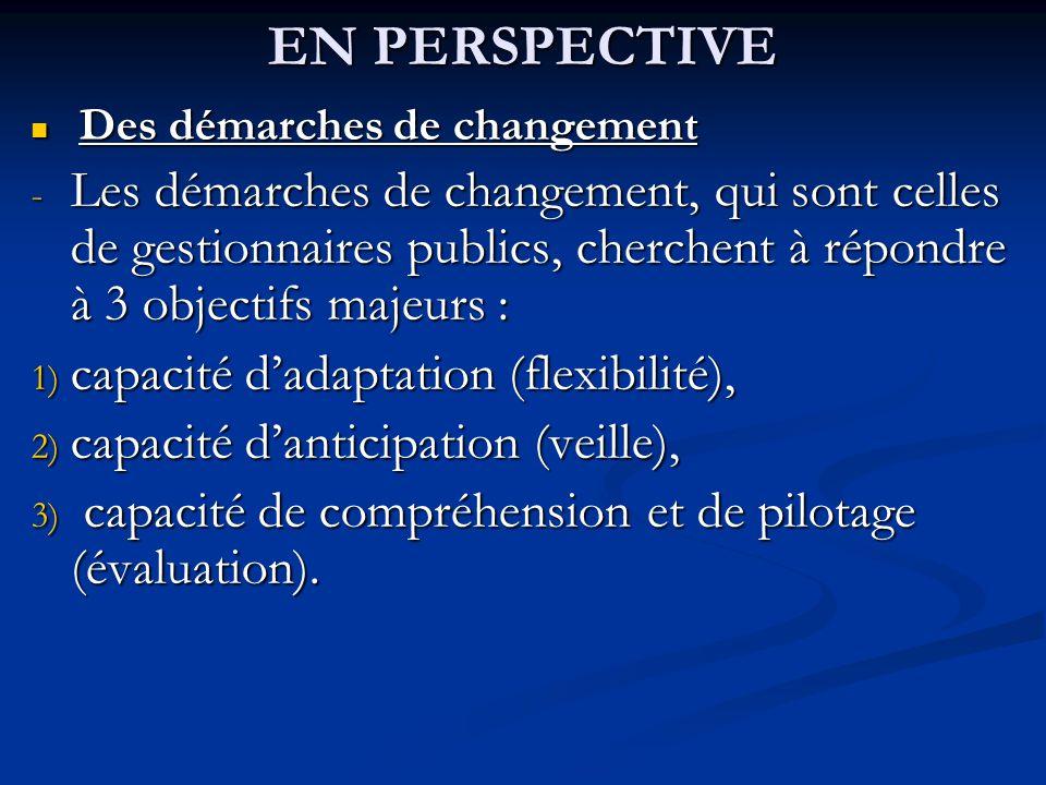 EN PERSPECTIVE Des démarches de changement Des démarches de changement - Les démarches de changement, qui sont celles de gestionnaires publics, cherch
