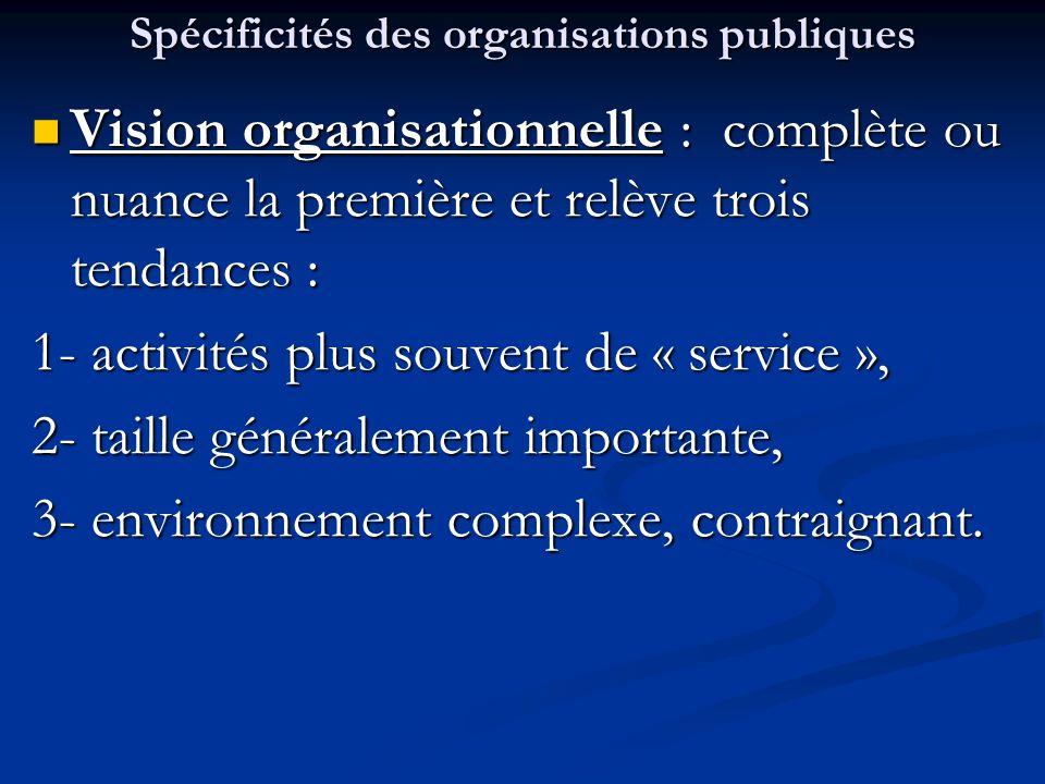 Aspects organisationnels Structuration: Structuration: La structure de l'OP est spécifique au regard de sa mission, de ses attributions et de sa portée géographique, et ce, selon qu'il s'agit de : - Administration Publique (portion centrale à étendues sectorielles et régionales) - Collectivité territoriale (portion à référents centraux) - EPA (entité dédiée à une activité administrative) - EPIC (entité dédiée à une mission de service public) - EPGS (entité dédiée à une activité spécifique)