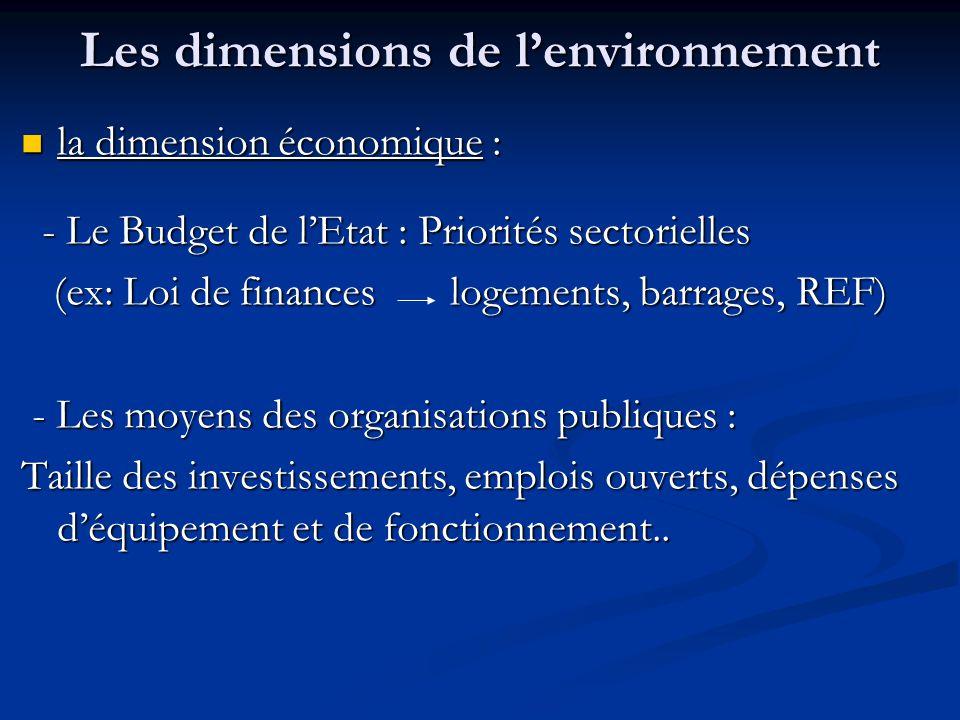 Les dimensions de l'environnement la dimension économique : la dimension économique : - Le Budget de l'Etat : Priorités sectorielles - Le Budget de l'Etat : Priorités sectorielles (ex: Loi de finances logements, barrages, REF) (ex: Loi de finances logements, barrages, REF) - Les moyens des organisations publiques : - Les moyens des organisations publiques : Taille des investissements, emplois ouverts, dépenses d'équipement et de fonctionnement..