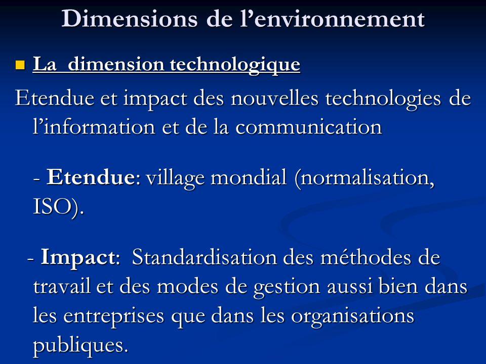 Dimensions de l'environnement La dimension technologique La dimension technologique Etendue et impact des nouvelles technologies de l'information et d