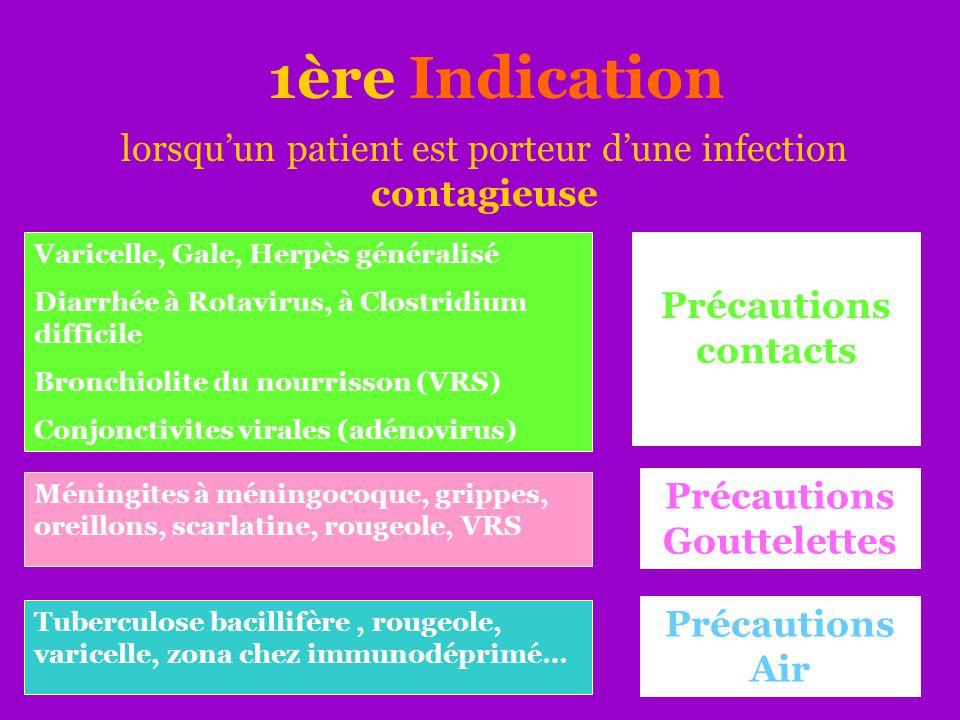 1ère Indication lorsqu'un patient est porteur d'une infection contagieuse Varicelle, Gale, Herpès généralisé Diarrhée à Rotavirus, à Clostridium diffi