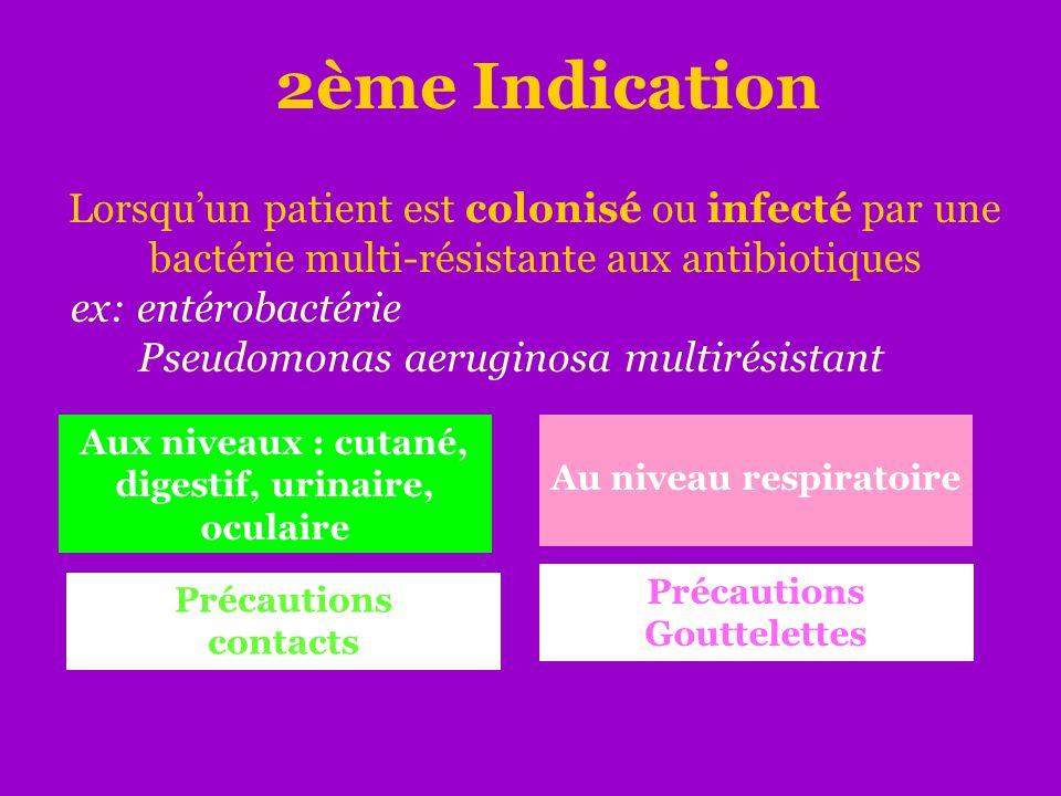2ème Indication Lorsqu'un patient est colonisé ou infecté par une bactérie multi-résistante aux antibiotiques ex: entérobactérie Pseudomonas aeruginos