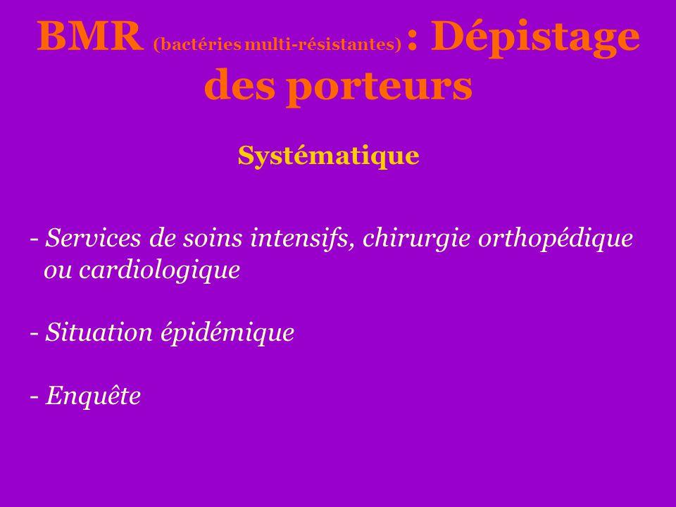 - Services de soins intensifs, chirurgie orthopédique ou cardiologique - Situation épidémique - Enquête BMR (bactéries multi-résistantes) : Dépistage