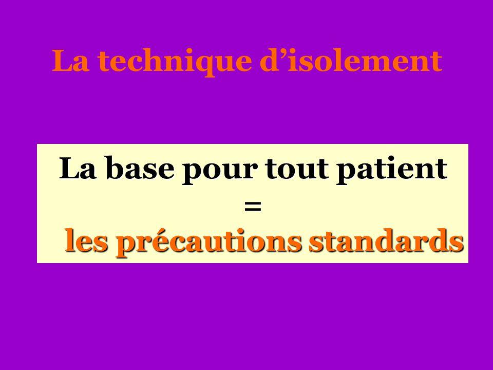 La base pour tout patient = les précautions standards La technique d'isolement