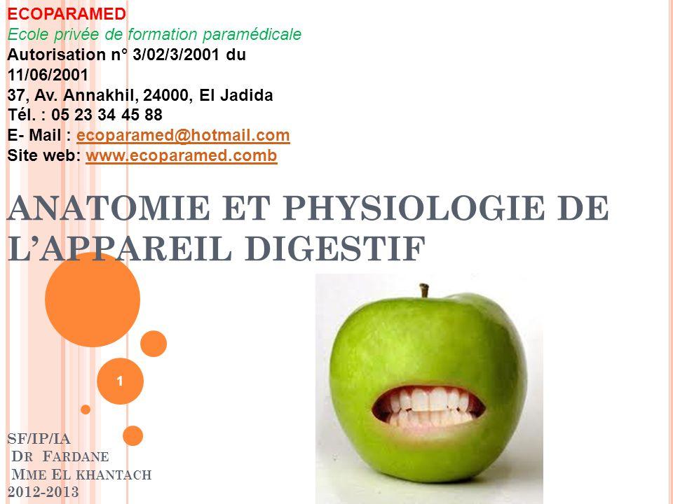 L A BOUCHE : PHYSIOLOGIE La salive : Produite par les glandes salivaires : parotide, sous-maxillaire, sublinguale (0,5 à 1,5 L/j) Lubrifie les aliments  facilite la déglutition Contient des enzymes débutant la digestion (amylase) Protège les dents (antimicrobien) 22