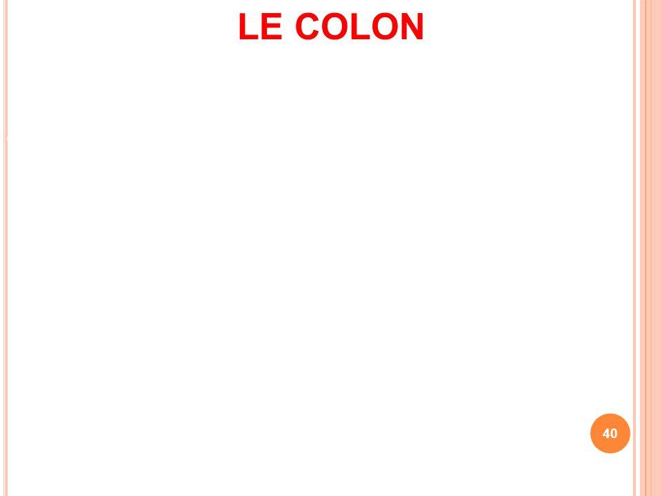 LE COLON Le colon c'est le gros intestin. le côlon fait suite à l'intestin grêle et forme la dernière partie du système digestif. Il est constitué de