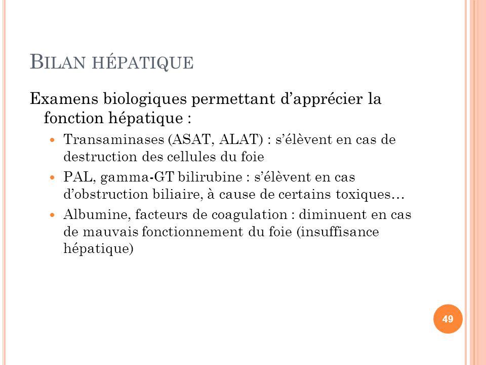 B ILAN HÉPATIQUE Examens biologiques permettant d'apprécier la fonction hépatique : Transaminases (ASAT, ALAT) : s'élèvent en cas de destruction des c