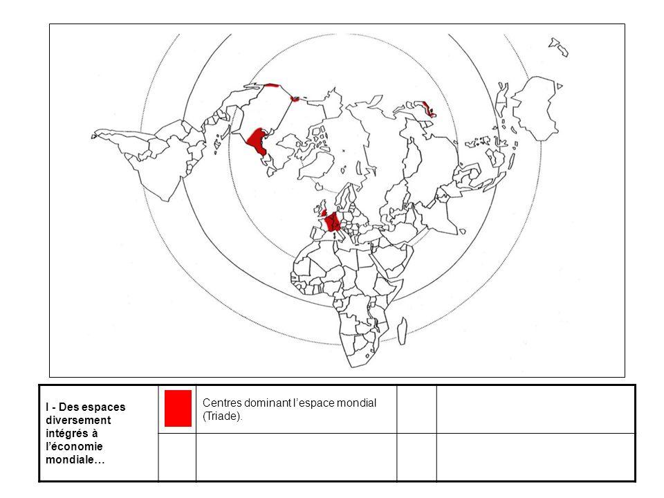I - Des espaces diversement intégrés à l'économie mondiale… Centres dominant l'espace mondial (Triade).
