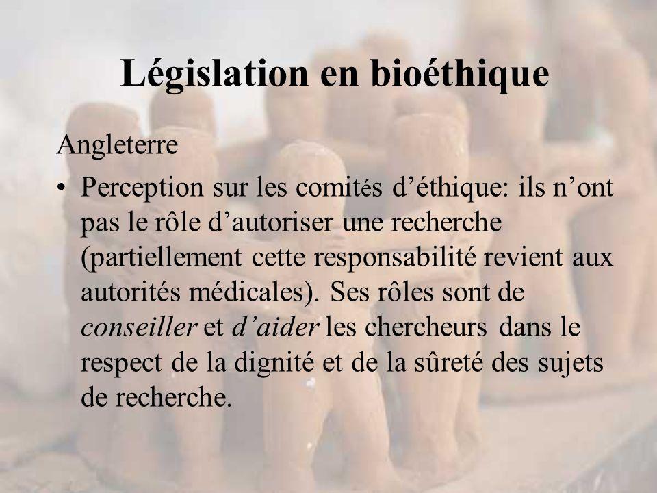 Angleterre Perception sur les comit é s d'éthique: ils n'ont pas le rôle d'autoriser une recherche (partiellement cette responsabilité revient aux autorités médicales).