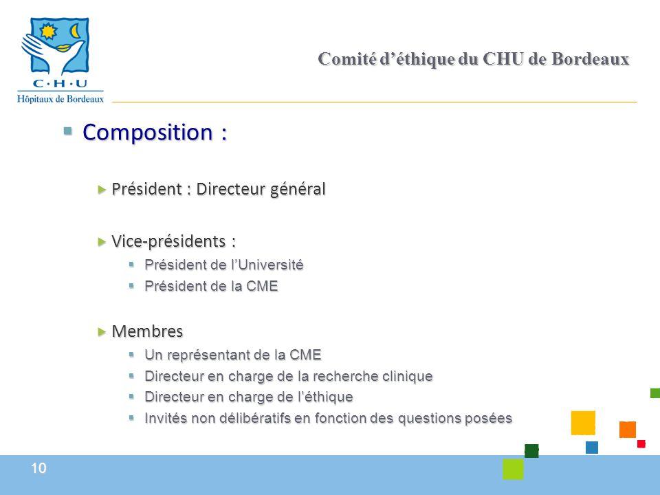 10 Comité d'éthique du CHU de Bordeaux  Composition :  Président : Directeur général  Vice-présidents :  Président de l'Université  Président de