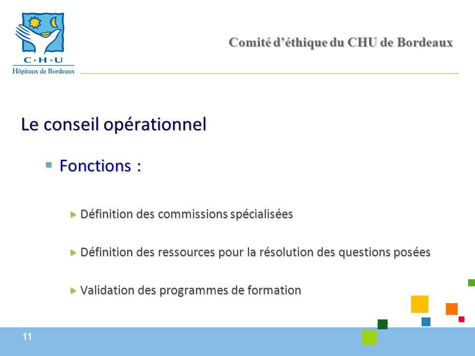 11 Comité d'éthique du CHU de Bordeaux Le conseil opérationnel  Fonctions :  Définition des commissions spécialisées  Définition des ressources pou