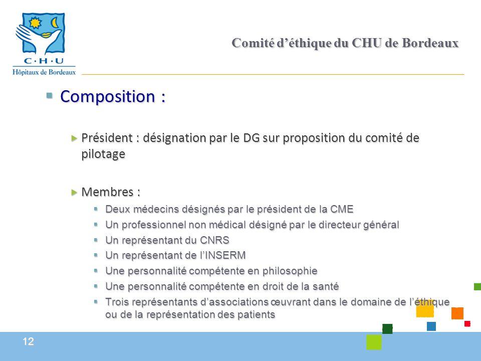12 Comité d'éthique du CHU de Bordeaux  Composition :  Président : désignation par le DG sur proposition du comité de pilotage  Membres :  Deux mé