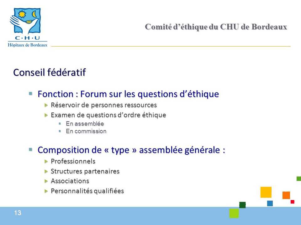 13 Comité d'éthique du CHU de Bordeaux Conseil fédératif  Fonction : Forum sur les questions d'éthique  Réservoir de personnes ressources  Examen d
